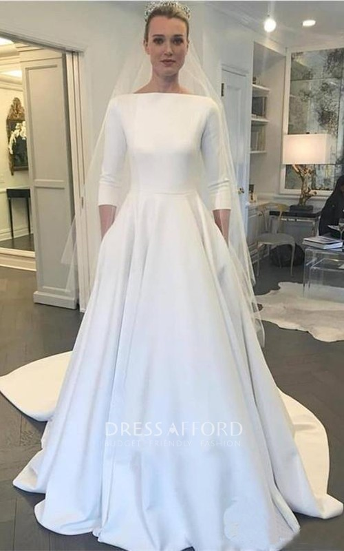 Modest Satin A-line 3/4 Sleeve Wedding Dress