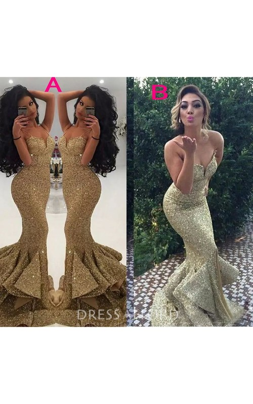 Luxury Spaghetti Sweetheart Sleeveless Sequins Mermaid Trumpet Dress