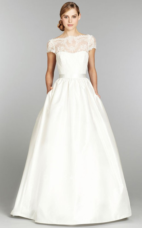 Illusion-Neck Lace Cap-Sleeve Stunning Long Gown