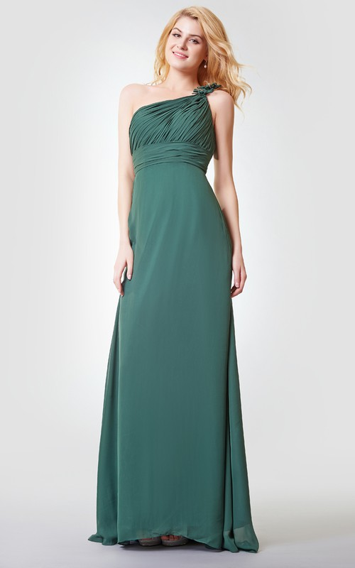 Long Floral A-Line Sleeveless Chiffon Gown
