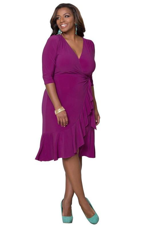 V-Neckline Jersey 3-4-Length Long-Sleeved Ruffled Dress