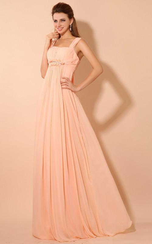 Empire Draping Straps Soft Floor-Length Dress