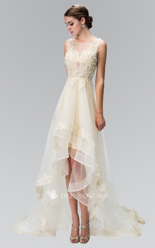 A-Line Ruffled Jeweled High-Low Scoop-Neck Tulle Sleeveless Dress