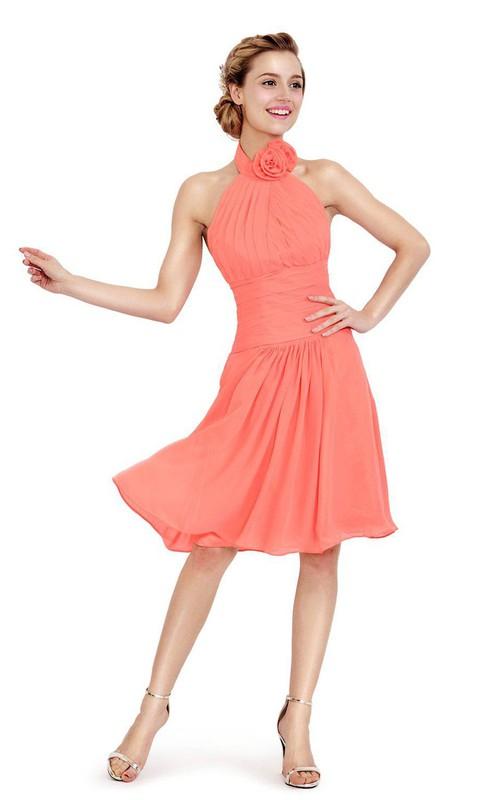 Sleeveless short Chiffon Bridesmaid Dress With floral Haltered neckline