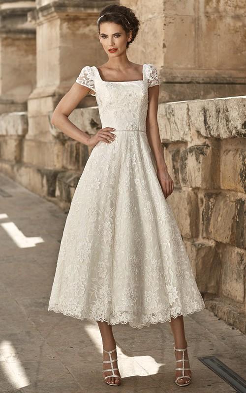 A-Line Appliqued Short-Sleeve Square-Neck Tea-Length Lace Wedding Dress