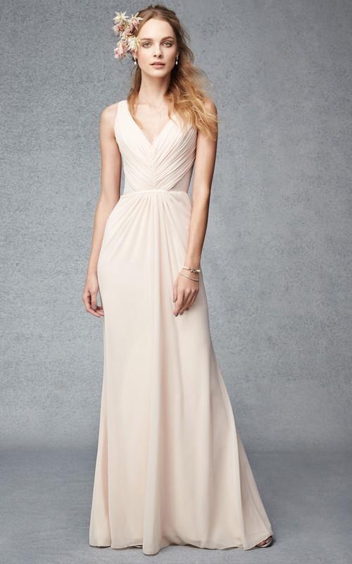 V-neck Ruched Sleeveless Chiffon Bridesmaid Dress