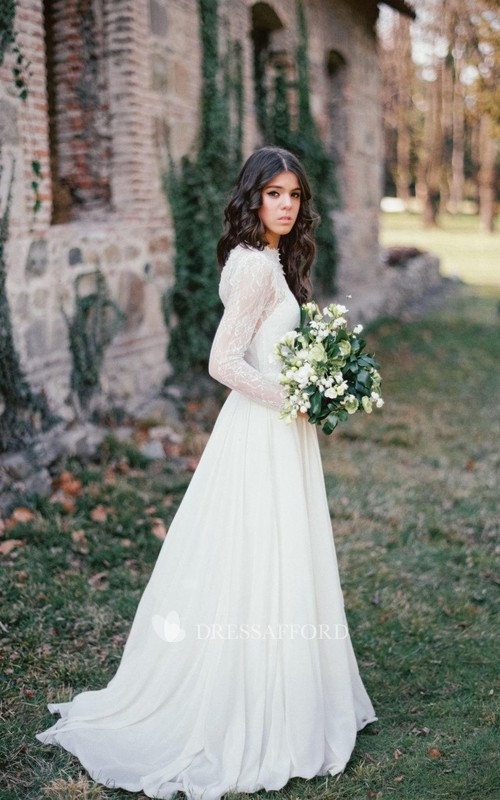 Wedding Corset Back Lace Long-Sleeve Gown