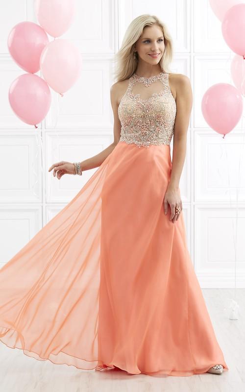 A-Line Beaded Jewel-Neck Sleeveless Illusion Jersey Dress