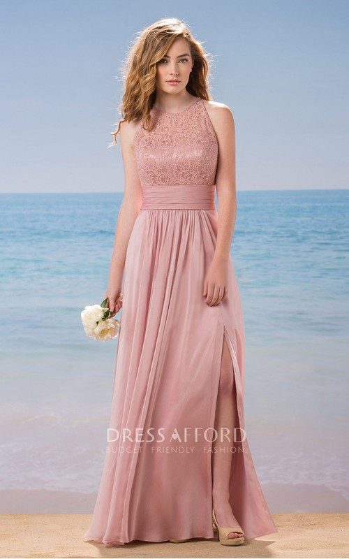 Sleeveless Split Front Dress With Lace And Keyhole back