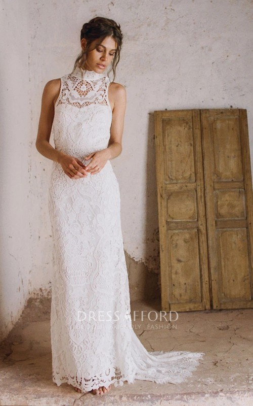Bohemian Lace Sheath High Neck Sleeveless Wedding Dress