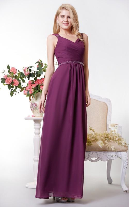 Long Jeweled Waist Formal Chiffon Graceful Floor-Length Dress