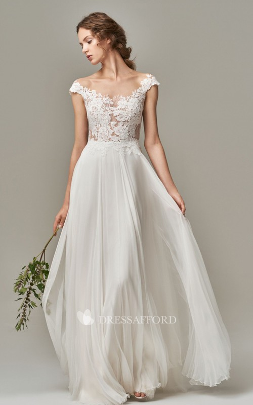 Elegant Short Sleeve A Line Chiffon Lace Bateau Wedding Dress with Appliques and Illusion V Back