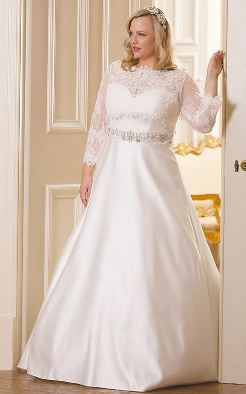 Bateau A-line Satin plus size wedding dress With Lace top And Embellished Waist