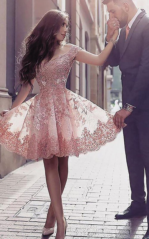 Sleeveless A-line Ball Gown Short Mini Off-the-shoulder Pleats Ruffles Lace Homecoming Dress