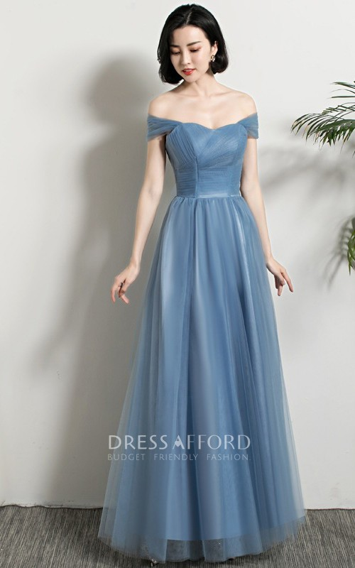 Off-the-shoulder V-neck One-shoulder Tulle Floor-length Formal Dress With Ruching