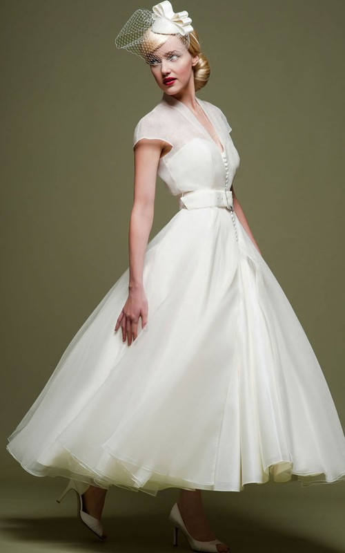 vintage A-line Ankle-length Dress With Illusion And belt