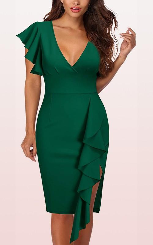 V-neck Taffeta Short Sleeve Knee-length Zipper Cocktail Dress with Ruffles