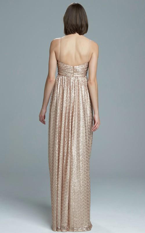 Maxi Sleeveless Spaghetti Sequin Bridesmaid Dress