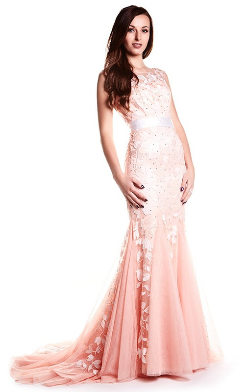 Bateau Sleeveless Tulle Dress With Appliques And Low-V Back