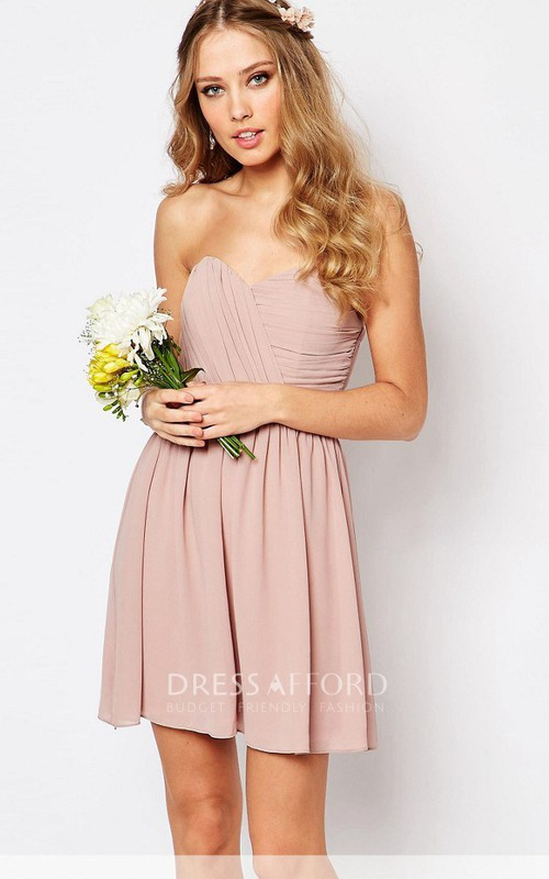 A Line Criss Cross Sleeveless Short Mini Sweetheart Chiffon Bridesmaid Dress
