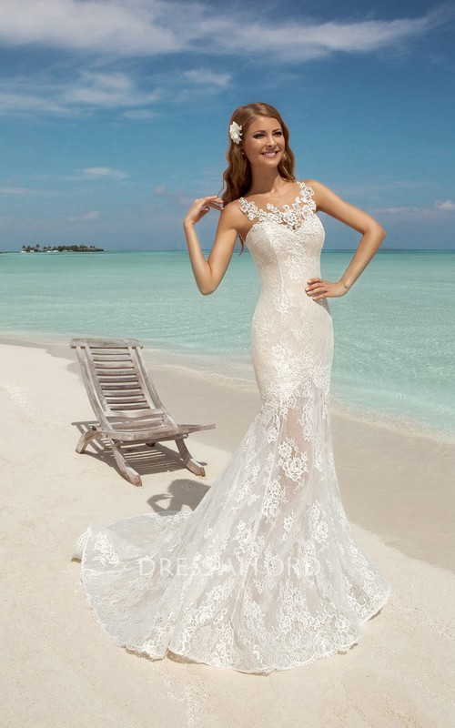 Sleeveless Appliqued Long Trumpet Lace Dress