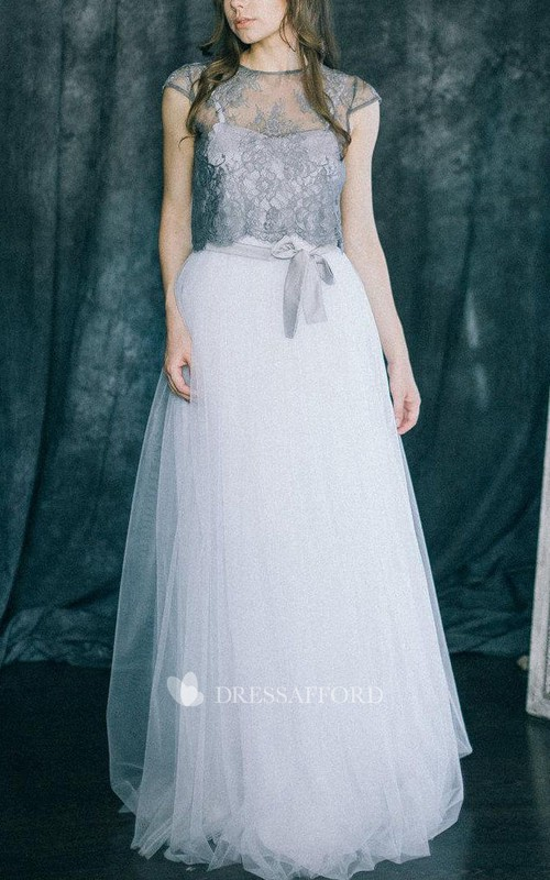 Jewel-Neck Short Sleeve Tulle A-line Dress With Lace top And bow
