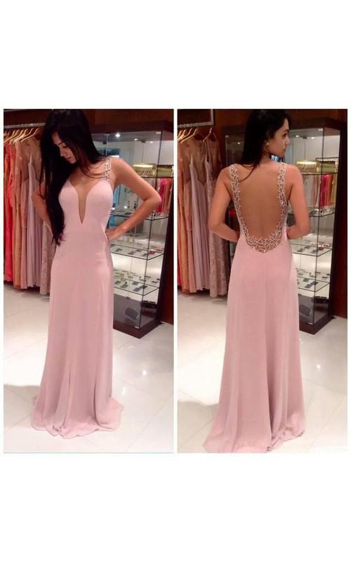 Sleeveless Chiffon Princess A-Line Floor-Length Dress