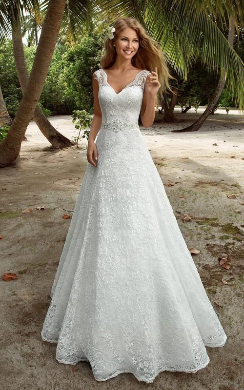 Sleeveless Jewel Long A-Line Lace Dress