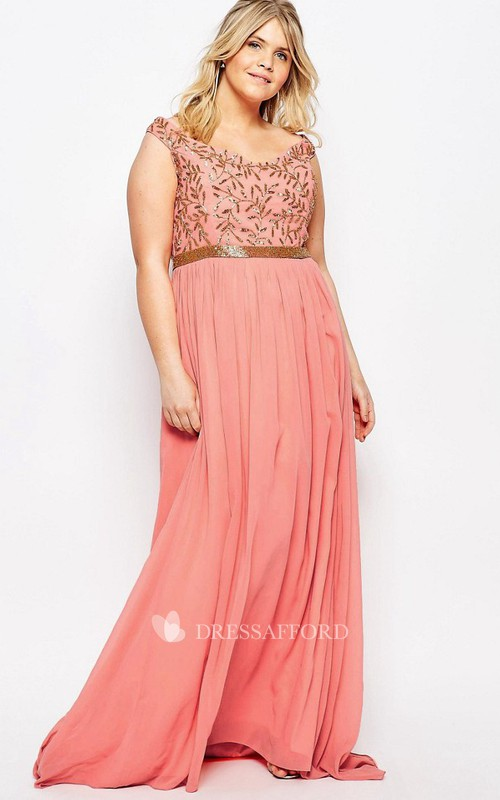 Sheath Scoop-Neck Sleeveless Jeweled Chiffon Bridesmaid Dress With Beading And Pleats