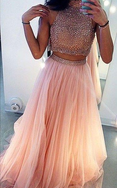 Beadeded Two-Pieces Inspire High-Neckline Glamorous Formal Dress