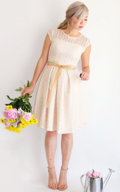 Jewel-Neck Lace Cap-sleeve Knee-length Dress With bow
