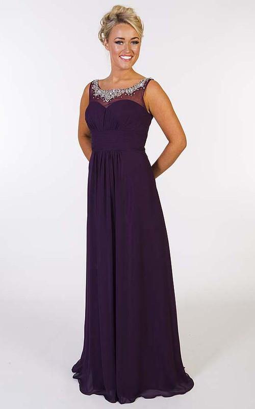 Sleeveless Beaded Scoop-Neck Floor-Length Chiffon Prom Dress