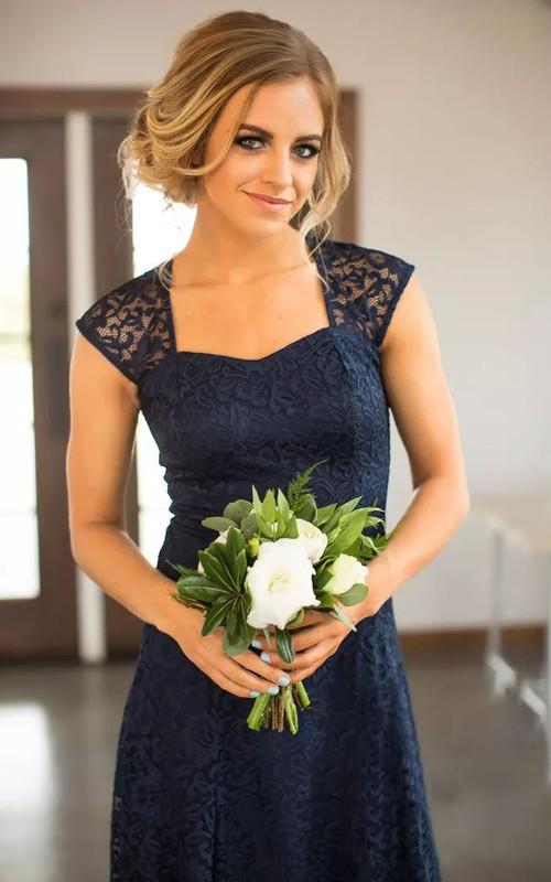 Sheath Square Lace Simple Romantic Adorable Short Mini Sleeveless Keyhole Bridesmaid Dress