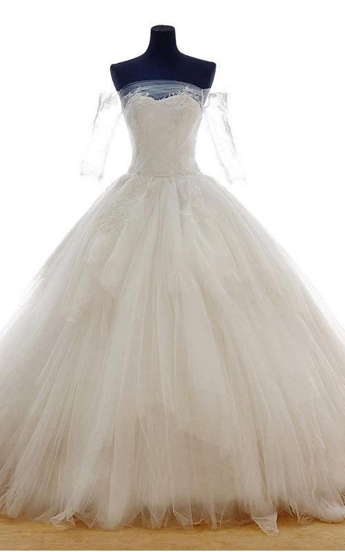 Princess-Inspire Lace Up Back Off-Shoulder Lace Princess Ball Gown