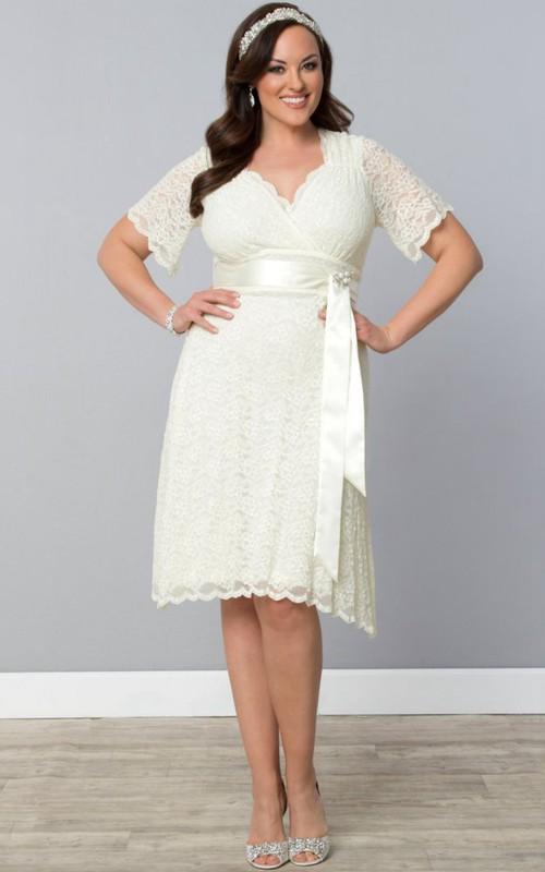 V-neck Sleeveless Strapless midi Wedding Dress With bow