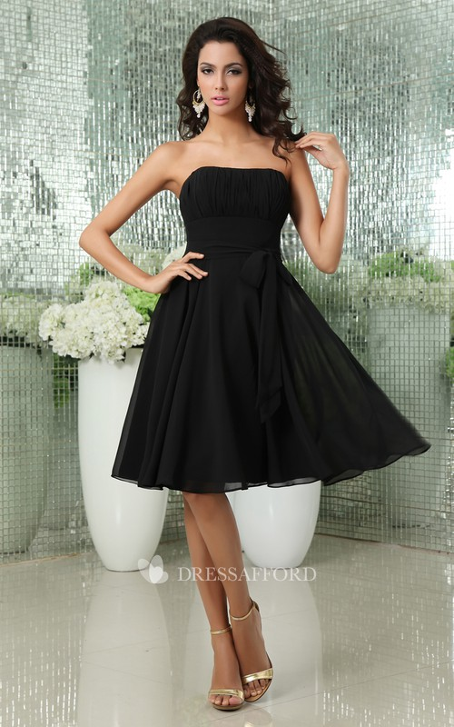 Sleeveless Bow Backless Strapless Romantic Midi Gown