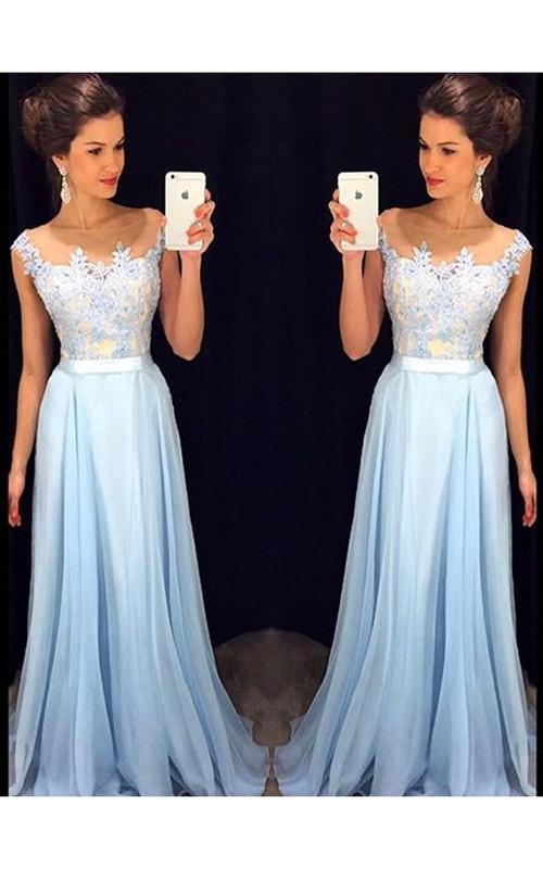 Sheer-Neckline Brush-Train Princess A-Line Chiffon Dress