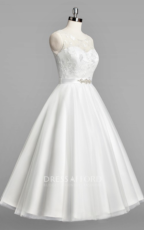 Tulle Beaded Satin Sash Sleeveless Scoop-Neckline Wedding Gown