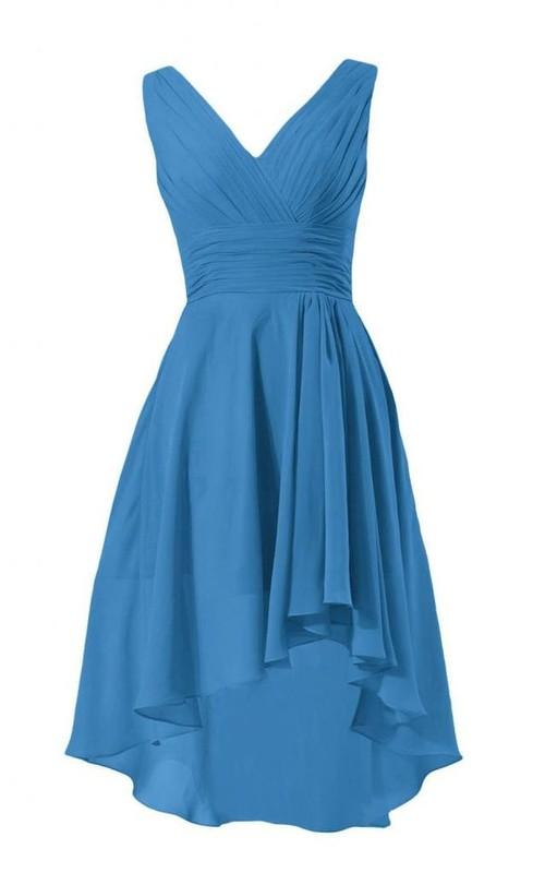 Ruched-Bodice Chiffon V-Neckline Sleeveless High-Low Dress