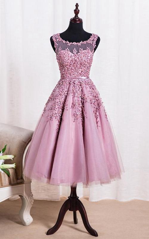 3-4-Length Applique Pearls Scoop-Neck Elegant Dress