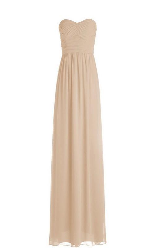 High-Waist Ruched Floor-Length Sleeveless Strapless Chiffon Long Dress