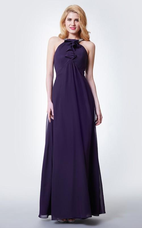 Chiffon Ruffled Detailing Halter-Neckline Gracious Gown