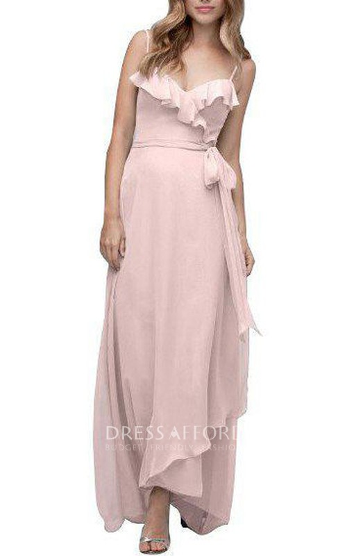 Spagetti Straps Wrap Tea-length Chiffon Bridesmaid Dress