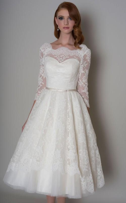 Bateau 3-4-sleeve A-line Knee-length Wedding Dress With Deep-V Back
