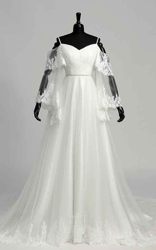 A-line Tulle Off-the-shoulder Spaghetti Floor-length Court Train Long Sleeve Wedding Dress with Appliques and Beading