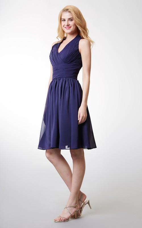 Cute Chiffon Halter Dress With Cummerbund Waist and Short Swirling Skirts