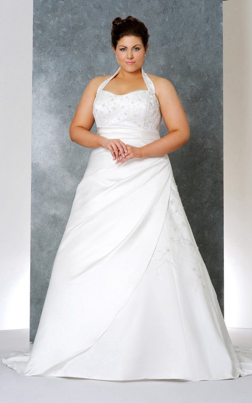Haltered A-line Satin plus size wedding dress With Beading And Ruching