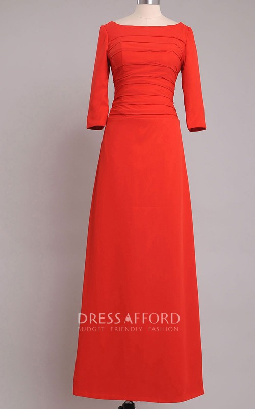 Chiffon Short-Sleeves A-Line Bateau-Neck Floor-Length Dress