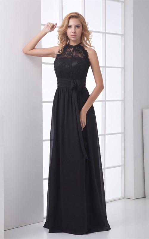 Sleeveless Bow Lace High-Neckline Floor-Length Gown