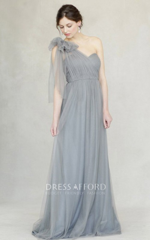 One-shoulder Tulle Floor-length Bridesmaid Dress With bow And Ruching